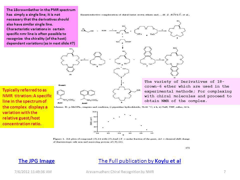 The JPG Image The Full publication by Koylu et al 7/6/2012 11:49:36 AM8Aravamudhan: Chiral Recognition by NMR The specific NMR line position variation for the S and R conformers.