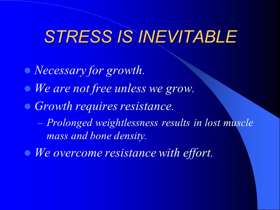 STRESS The non-specific result of any demand upon the body, be the effect mental or somatic.