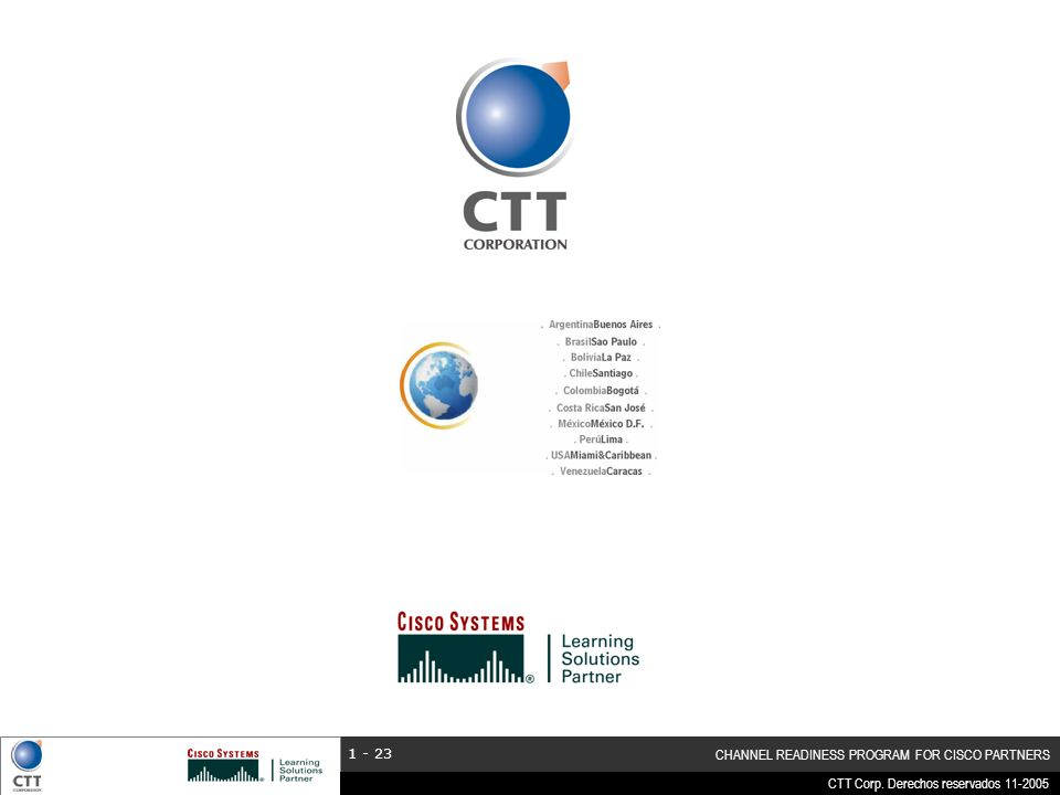 CTT Corp. Derechos reservados 11-2005 CHANNEL READINESS PROGRAM FOR CISCO PARTNERS 1 - 23