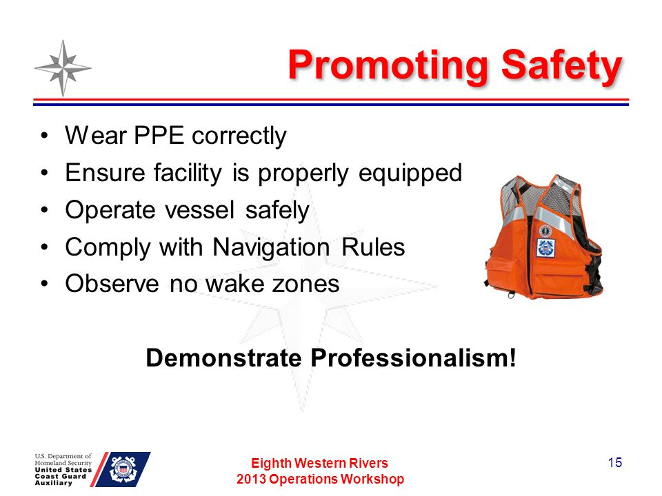 Promoting Safety Wear PPE correctly Ensure facility is properly equipped Operate vessel safely Comply with Navigation Rules Observe no wake zones Demonstrate Professionalism.