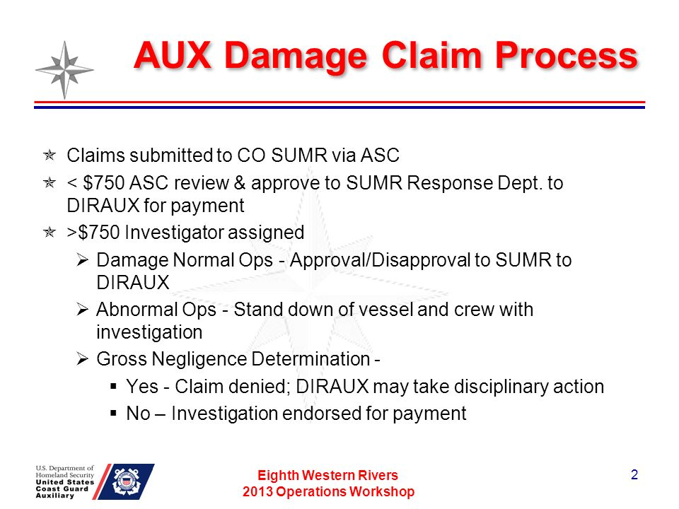 AUX Damage Claim Process Claims submitted to CO SUMR via ASC < $750 ASC review & approve to SUMR Response Dept.