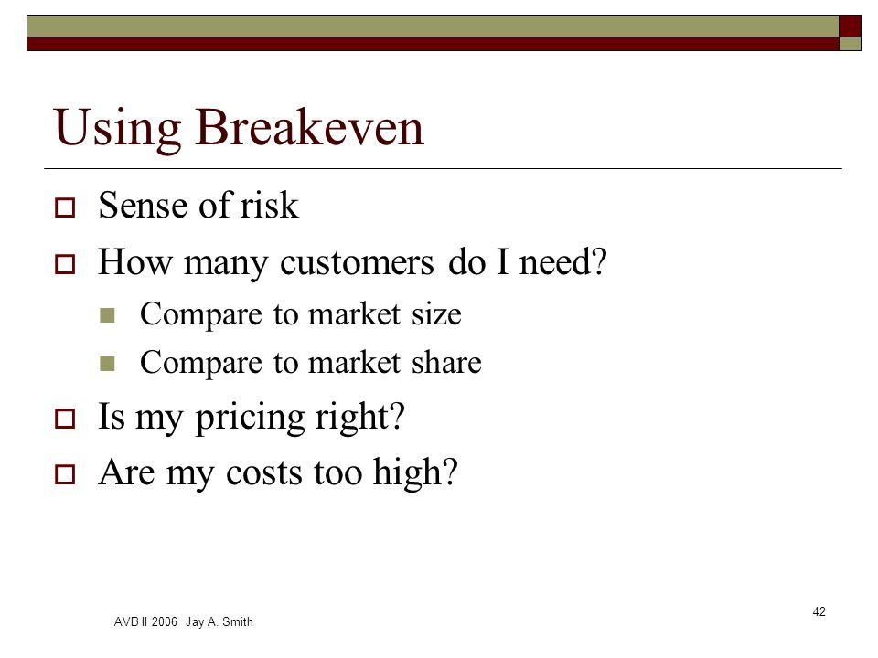AVB II 2006 Jay A. Smith 42 Using Breakeven Sense of risk How many customers do I need.