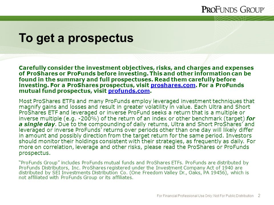 For Financial Professional Use Only: Not For Public Distribution 2 To get a prospectus Carefully consider the investment objectives, risks, and charge