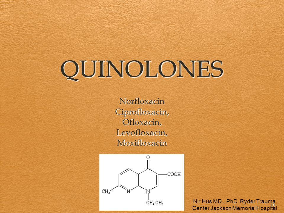 19 QUINOLONES NorfloxacinCiprofloxacin,Ofloxacin,Levofloxacin,Moxifloxacin Nir Hus MD., PhD. Ryder Trauma Center Jackson Memorial Hospital