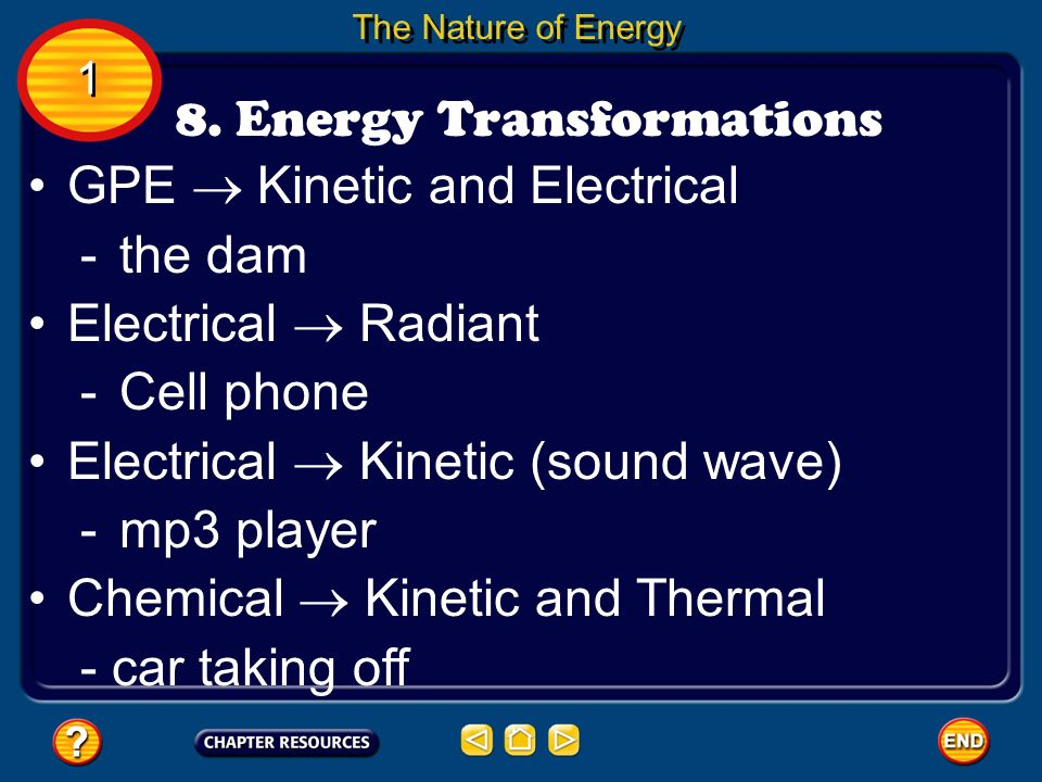 The Nature of Energy 8. Energy Transformations 1 1 GPE Kinetic and Electrical -the dam Electrical Radiant -Cell phone Electrical Kinetic (sound wave)