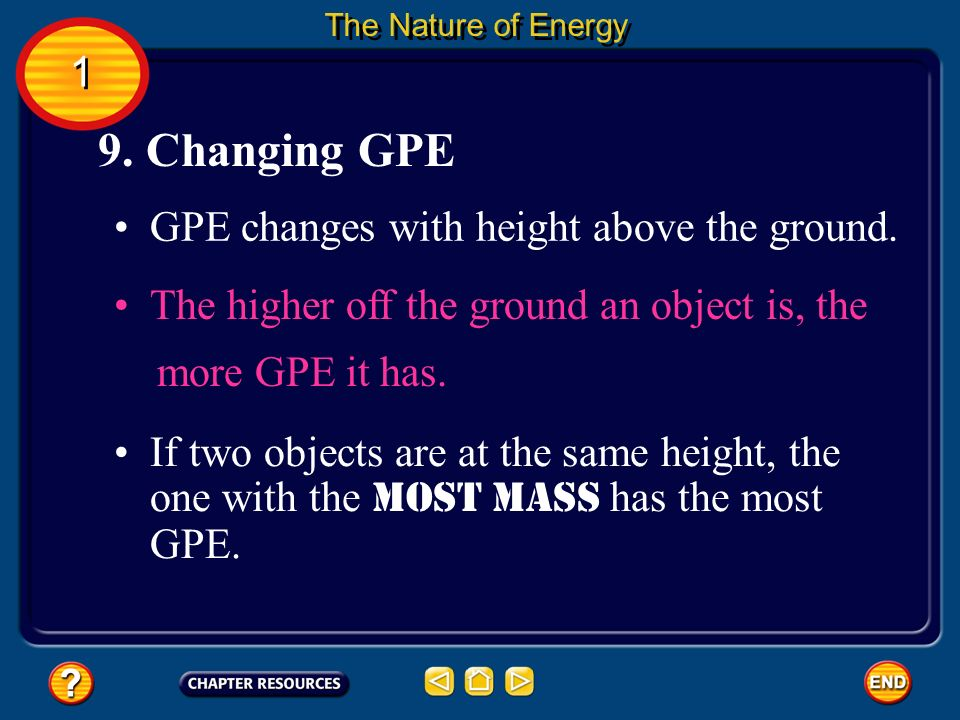 GPE changes with height above the ground. 9. Changing GPE The Nature of Energy If two objects are at the same height, the one with the most mass has t