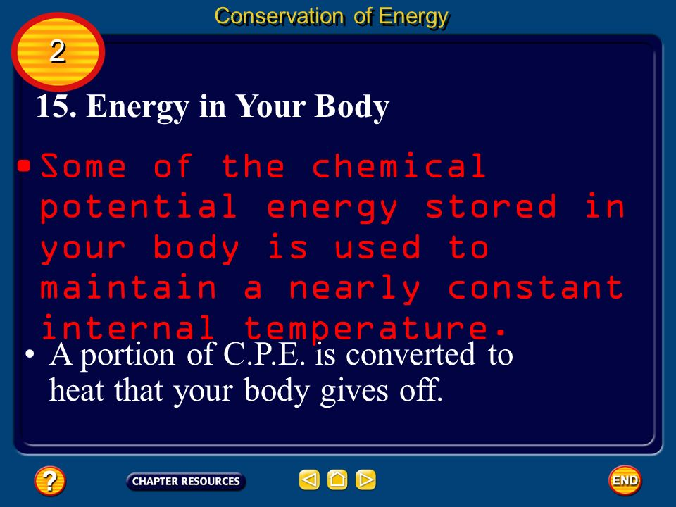 Some of the chemical potential energy stored in your body is used to maintain a nearly constant internal temperature. 15. Energy in Your Body Conserva