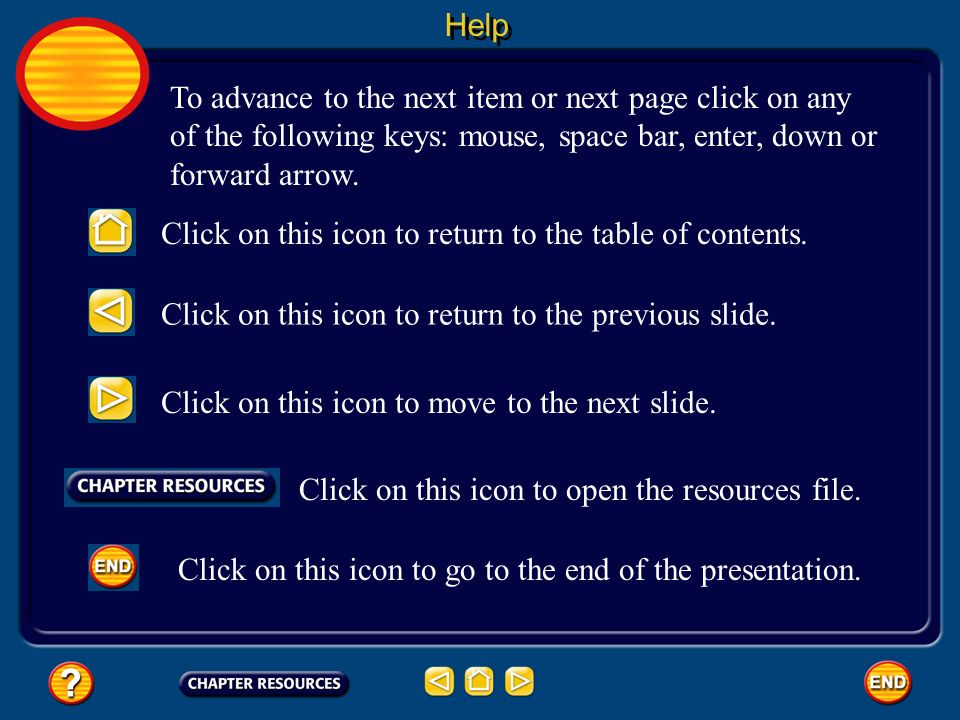 To advance to the next item or next page click on any of the following keys: mouse, space bar, enter, down or forward arrow. Click on this icon to ret