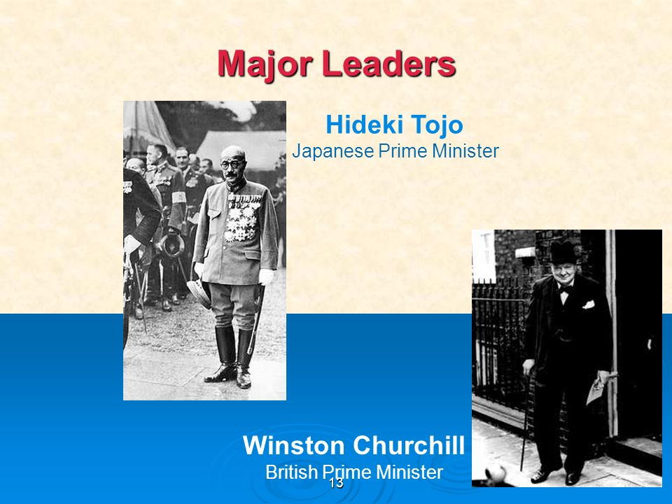 13 Major Leaders Hideki Tojo Japanese Prime Minister Winston Churchill British Prime Minister
