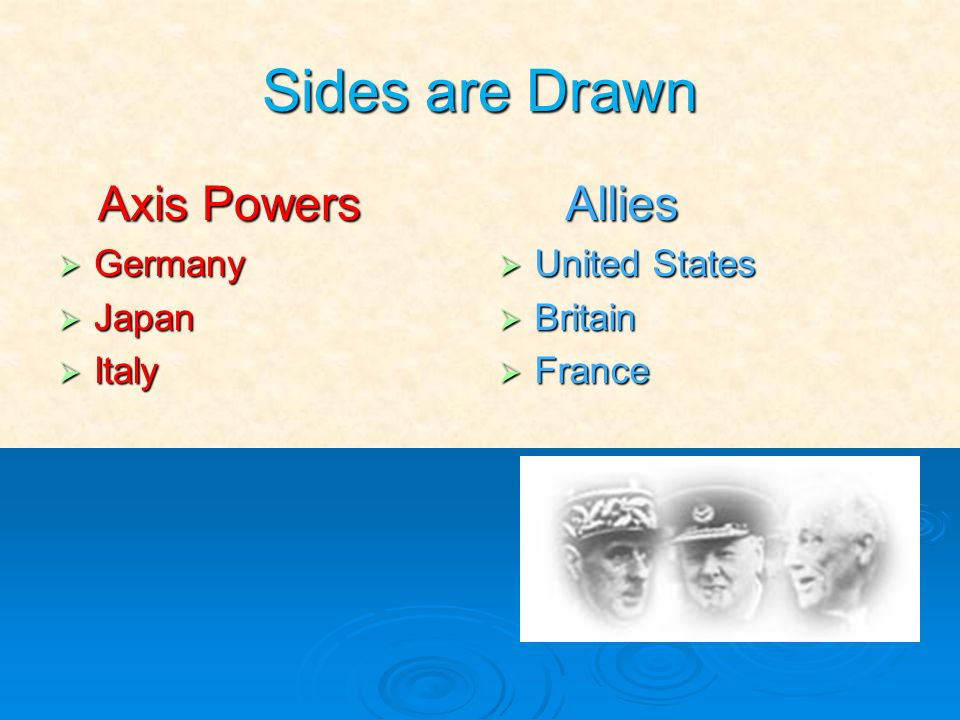 Sides are Drawn Axis Powers Germany Japan Italy Allies United States Britain France