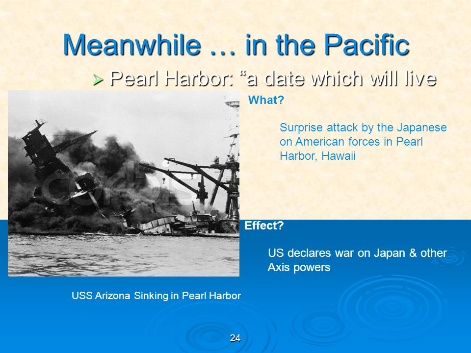 24 Meanwhile … in the Pacific Pearl Harbor: a date which will live in infamy Pearl Harbor: a date which will live in infamy USS Arizona Sinking in Pearl Harbor What.