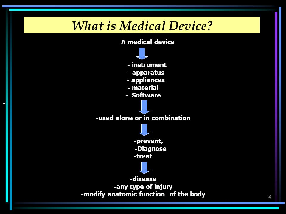 4 What is Medical Device? A medical device - instrument - apparatus - appliances - material - Software - -used alone or in combination -prevent, -Diag