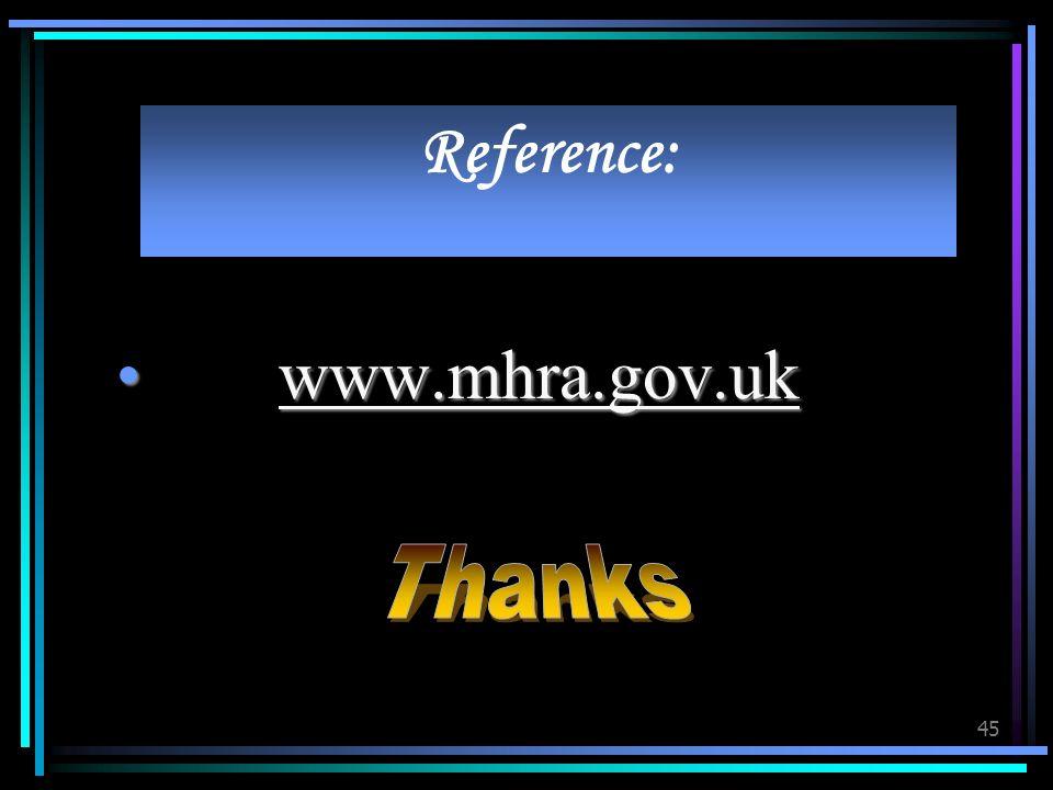 45 Reference: www.mhra.gov.uk www.mhra.gov.uk