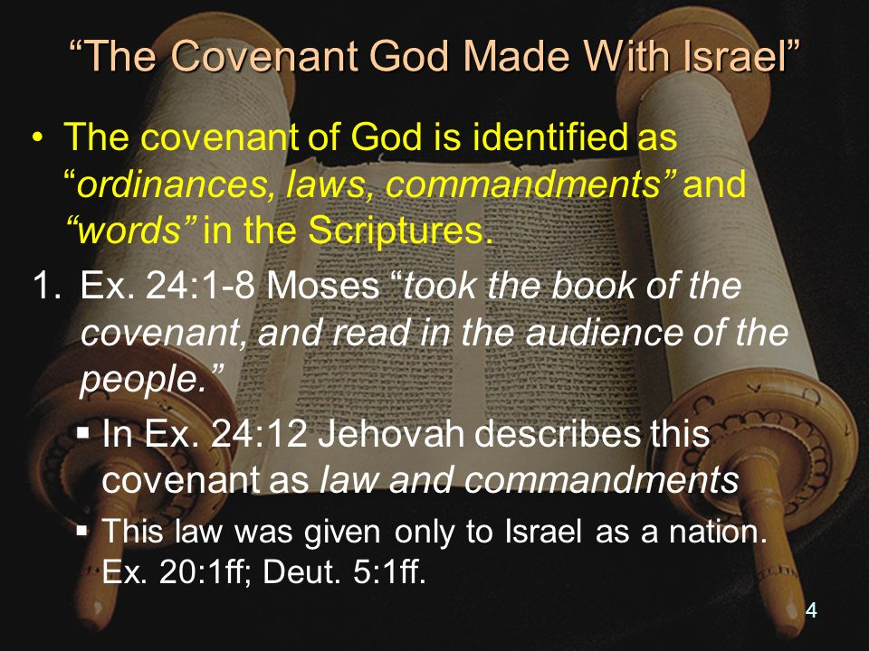 The Covenant God Made With Israel This Covenant Was Broken: 1.Moses said: Ye had turned aside quickly out of the way which the Lord had commanded you.