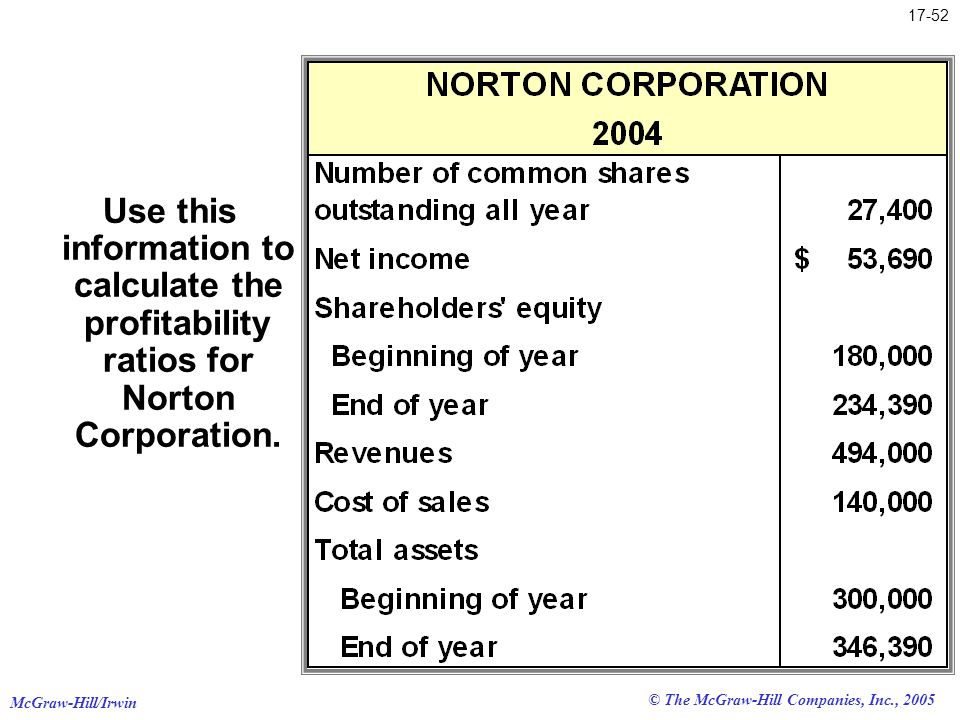 McGraw-Hill/Irwin © The McGraw-Hill Companies, Inc., 2005 17-52 Use this information to calculate the profitability ratios for Norton Corporation.