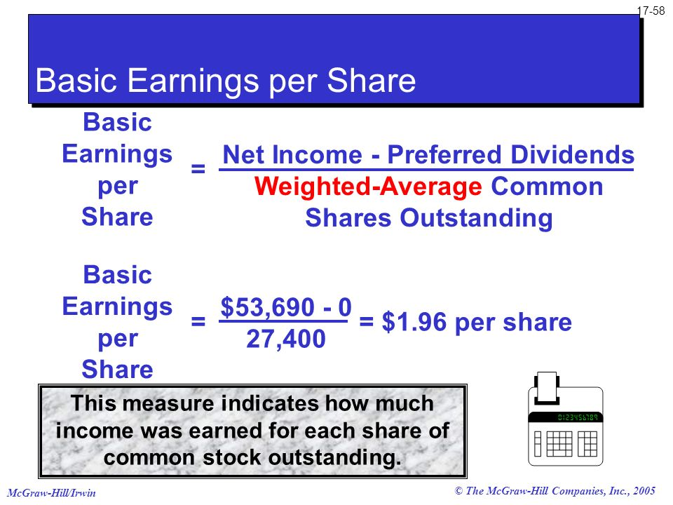 McGraw-Hill/Irwin © The McGraw-Hill Companies, Inc., 2005 17-58 This measure indicates how much income was earned for each share of common stock outst