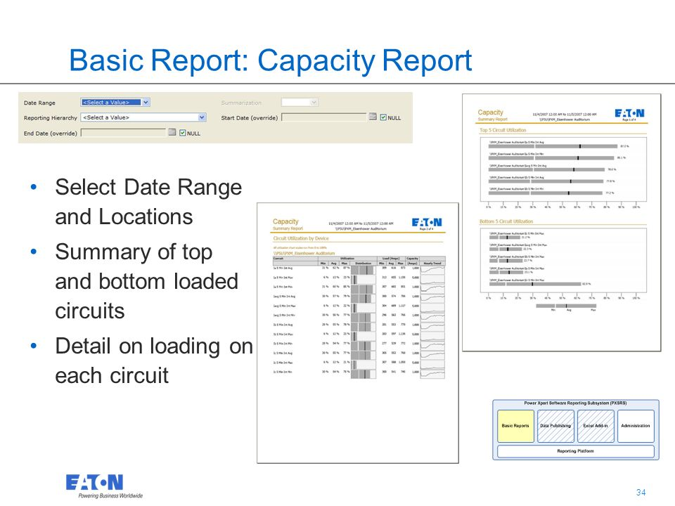 34 Basic Report: Capacity Report Select Date Range and Locations Summary of top and bottom loaded circuits Detail on loading on each circuit