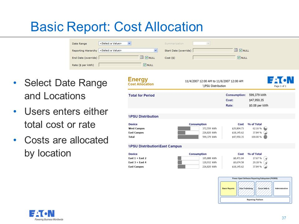 37 Basic Report: Cost Allocation Select Date Range and Locations Users enters either total cost or rate Costs are allocated by location
