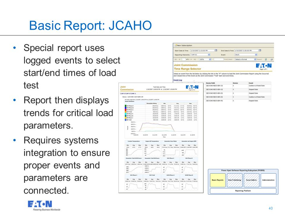 40 Basic Report: JCAHO Special report uses logged events to select start/end times of load test Report then displays trends for critical load parameters.
