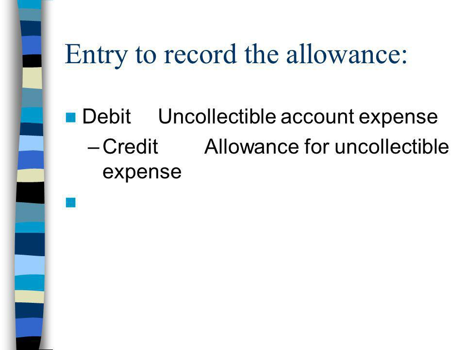 Entry to record the allowance: Debit Uncollectible account expense –CreditAllowance for uncollectible expense