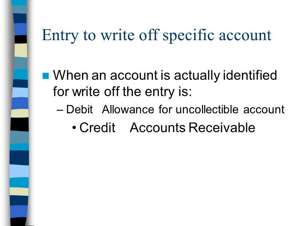 Entry to write off specific account When an account is actually identified for write off the entry is: –DebitAllowance for uncollectible account Credi