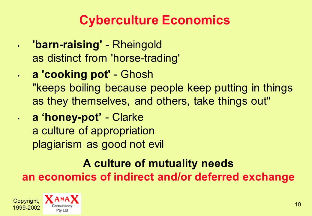 Copyright, 1999-2002 10 Cyberculture Economics 'barn-raising' - Rheingold as distinct from 'horse-trading' a 'cooking pot' - Ghosh