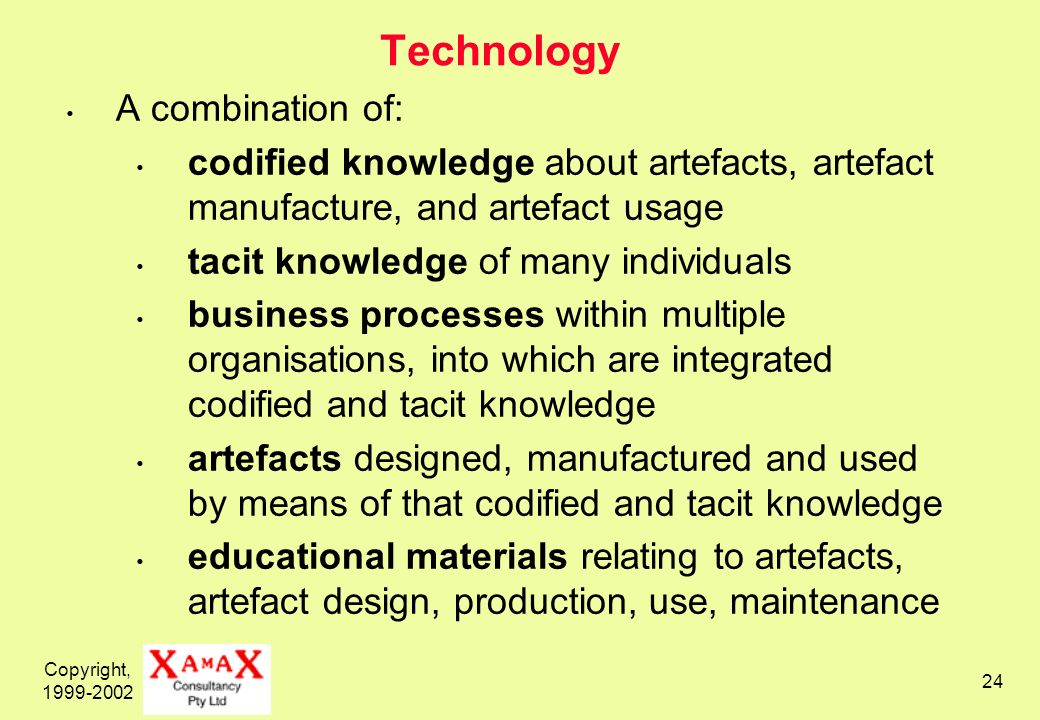 Copyright, 1999-2002 24 Technology A combination of: codified knowledge about artefacts, artefact manufacture, and artefact usage tacit knowledge of many individuals business processes within multiple organisations, into which are integrated codified and tacit knowledge artefacts designed, manufactured and used by means of that codified and tacit knowledge educational materials relating to artefacts, artefact design, production, use, maintenance
