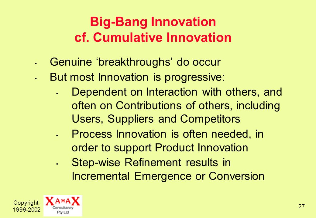 Copyright, 1999-2002 27 Big-Bang Innovation cf.