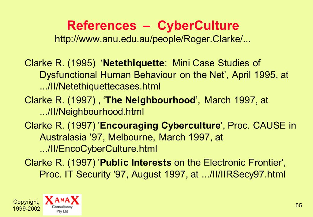 Copyright, 1999-2002 55 References – CyberCulture http://www.anu.edu.au/people/Roger.Clarke/...
