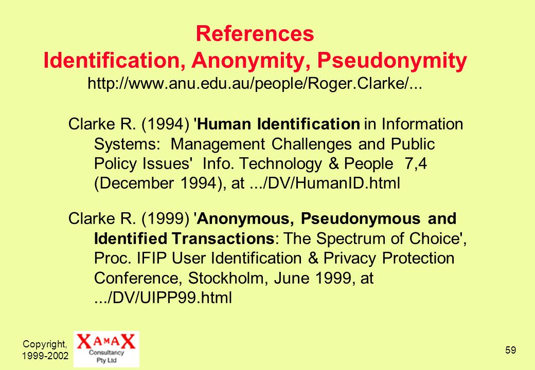 Copyright, 1999-2002 59 References Identification, Anonymity, Pseudonymity http://www.anu.edu.au/people/Roger.Clarke/... Clarke R. (1994) 'Human Ident