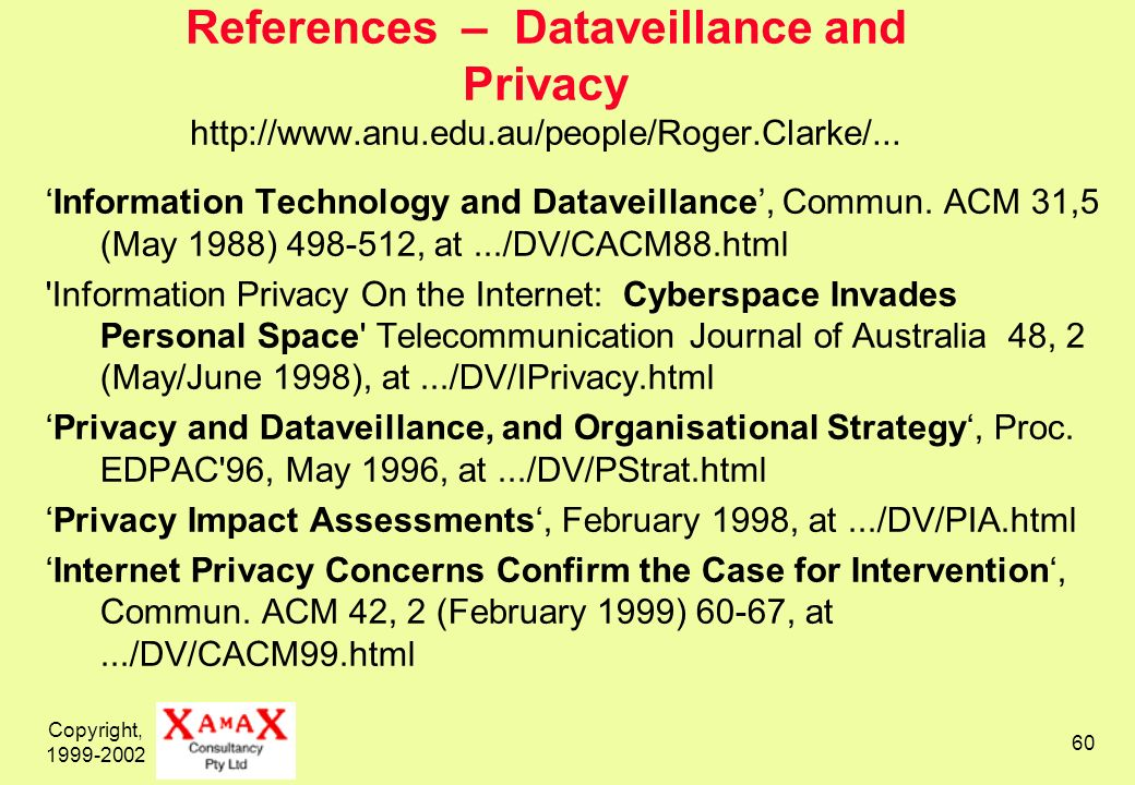 Copyright, 1999-2002 60 References – Dataveillance and Privacy http://www.anu.edu.au/people/Roger.Clarke/... Information Technology and Dataveillance,