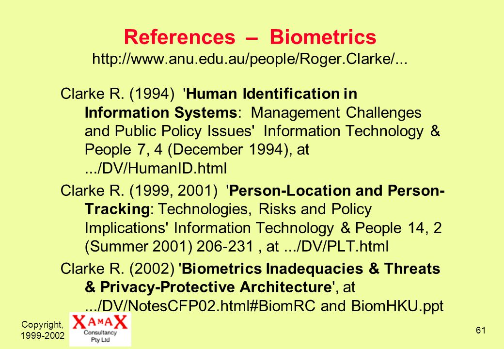 Copyright, 1999-2002 61 References – Biometrics http://www.anu.edu.au/people/Roger.Clarke/...