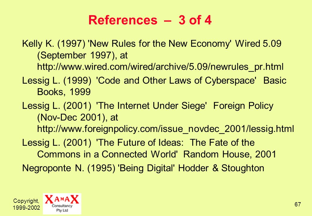 Copyright, 1999-2002 67 References – 3 of 4 Kelly K.