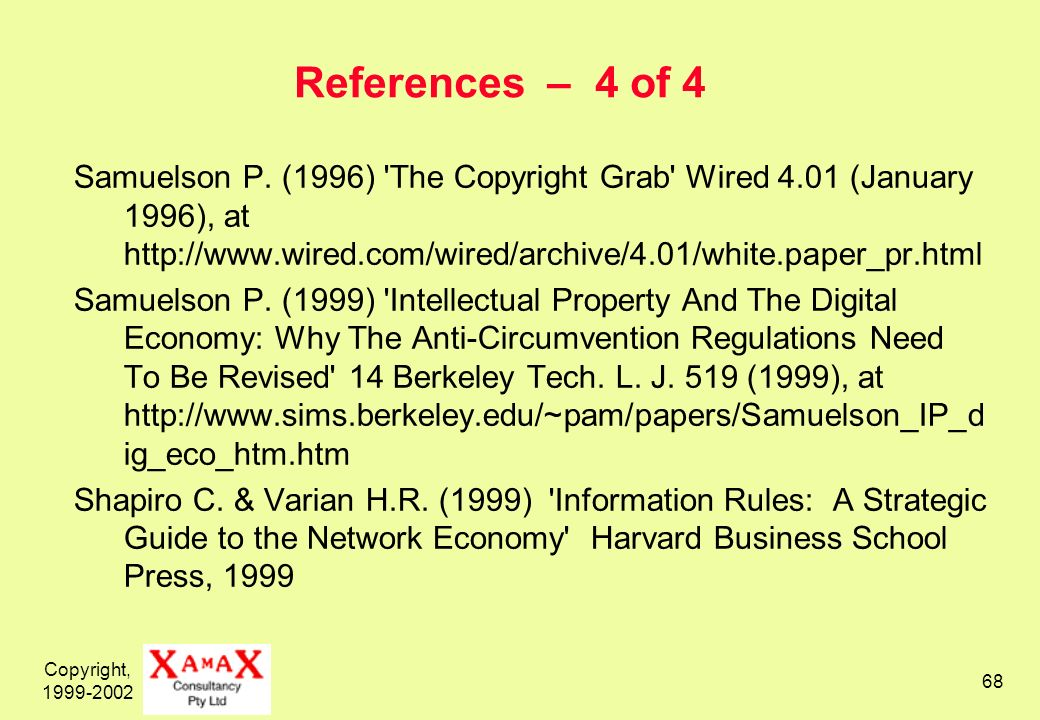 Copyright, 1999-2002 68 References – 4 of 4 Samuelson P. (1996) 'The Copyright Grab' Wired 4.01 (January 1996), at http://www.wired.com/wired/archive/