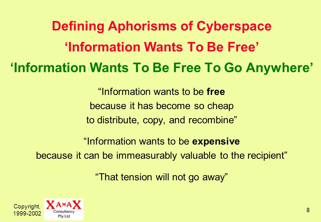 Copyright, 1999-2002 8 Defining Aphorisms of Cyberspace Information Wants To Be Free Information Wants To Be Free To Go Anywhere Information wants to