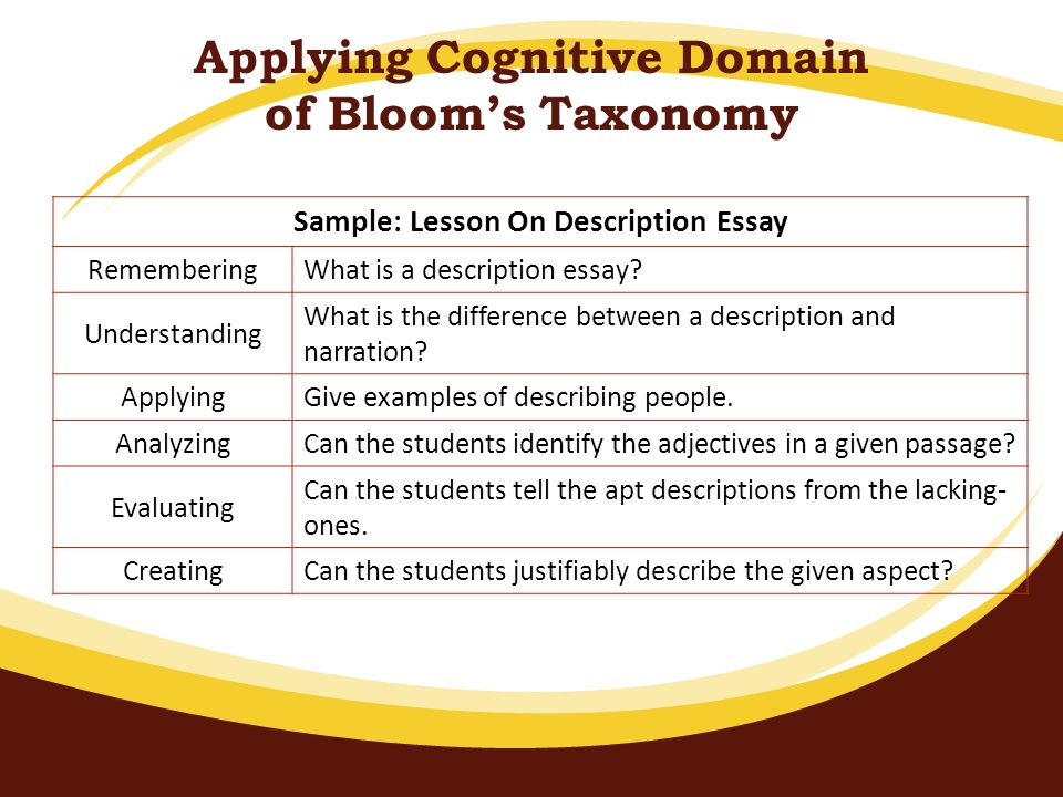 Applying Cognitive Domain of Blooms Taxonomy Sample: Lesson On Description Essay Remembering What is a description essay? Understanding What is the di