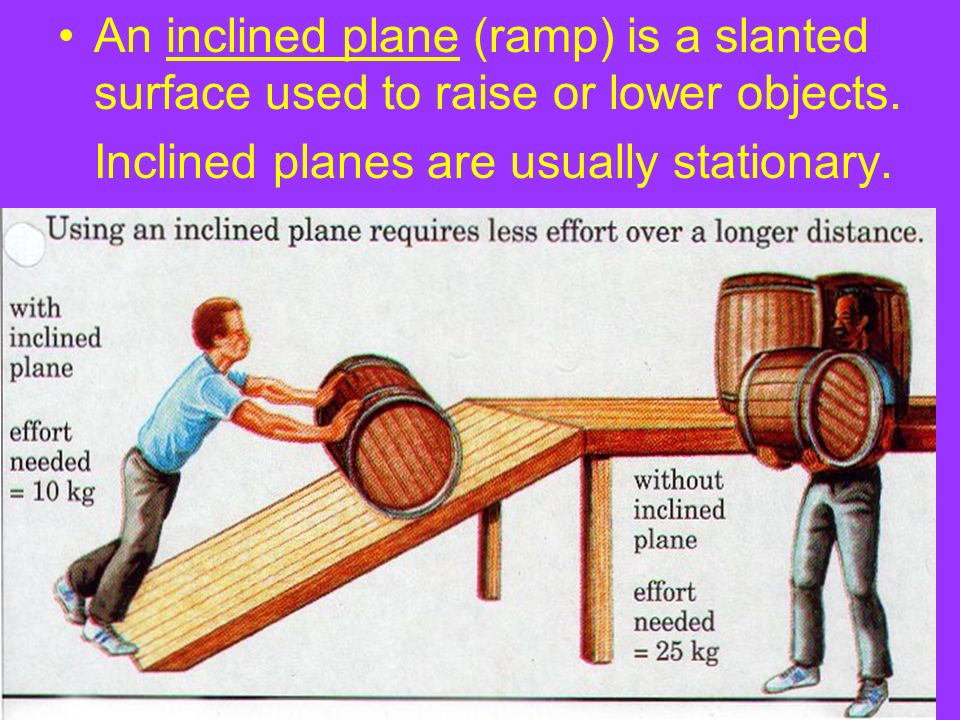 An inclined plane (ramp) is a slanted surface used to raise or lower objects. Inclined planes are usually stationary.
