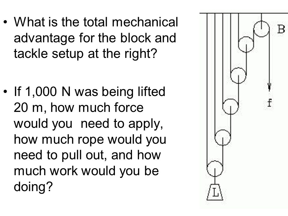 What is the total mechanical advantage for the block and tackle setup at the right? If 1,000 N was being lifted 20 m, how much force would you need to