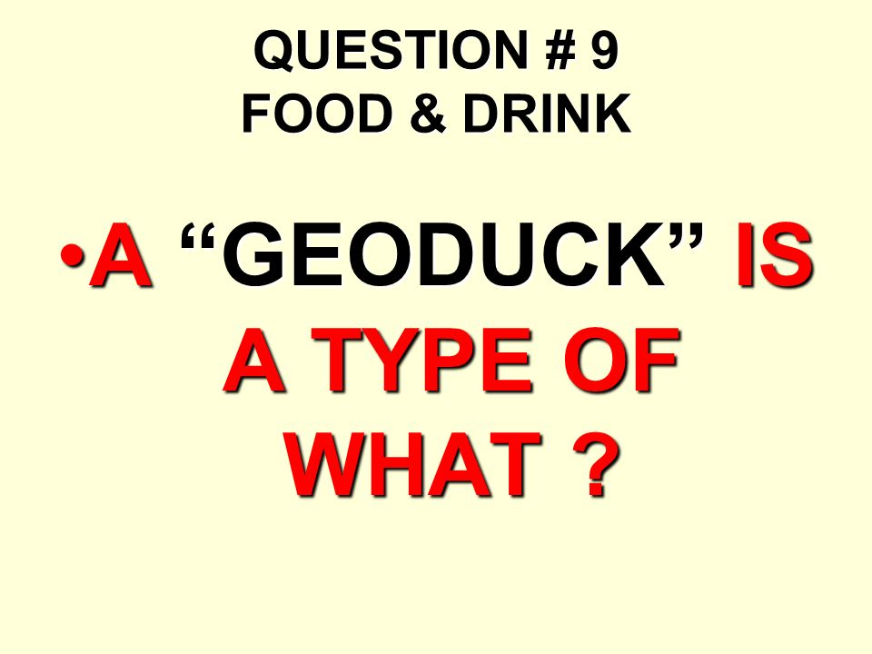 QUESTION # 9 FOOD & DRINK A GEODUCK IS A TYPE OF WHAT ?