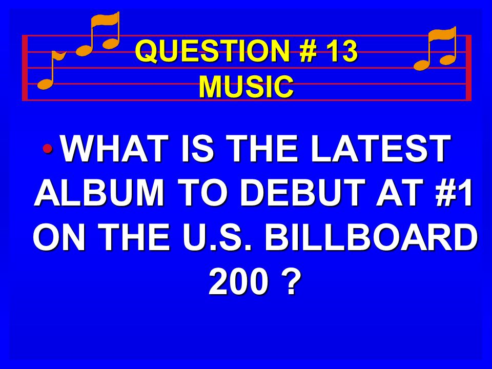 QUESTION # 13 MUSIC WHAT IS THE LATEST ALBUM TO DEBUT AT #1 ON THE U.S. BILLBOARD 200 ?