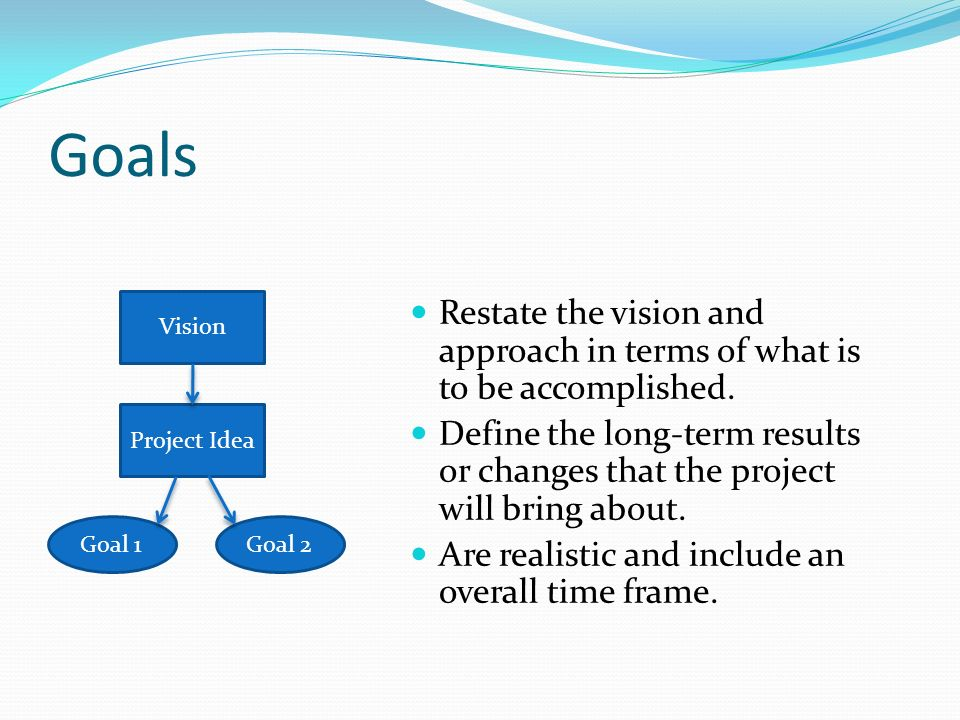 Goals Restate the vision and approach in terms of what is to be accomplished.