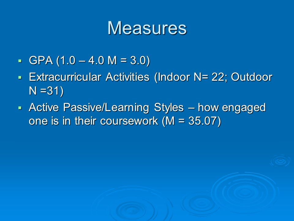 Measures GPA (1.0 – 4.0 M = 3.0) GPA (1.0 – 4.0 M = 3.0) Extracurricular Activities (Indoor N= 22; Outdoor N =31) Extracurricular Activities (Indoor N