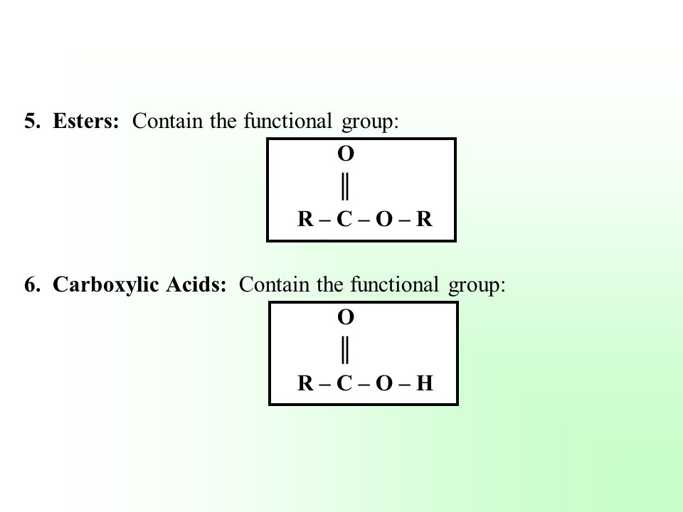 Esters Functional Group Esters Contain The Functional
