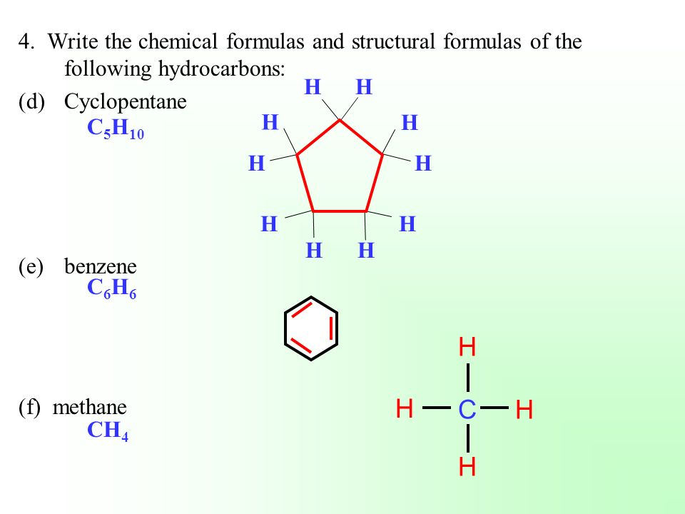 4. Write the chemical formulas and structural formulas of the following hydrocarbons: (d)Cyclopentane (e)benzene (f) methane C 5 H 10 C6H6C6H6 CH 4 H