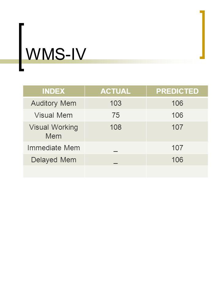 WMS-IV INDEXACTUALPREDICTED Auditory Mem103106 Visual Mem75106 Visual Working Mem 108107 Immediate Mem_107 Delayed Mem_106
