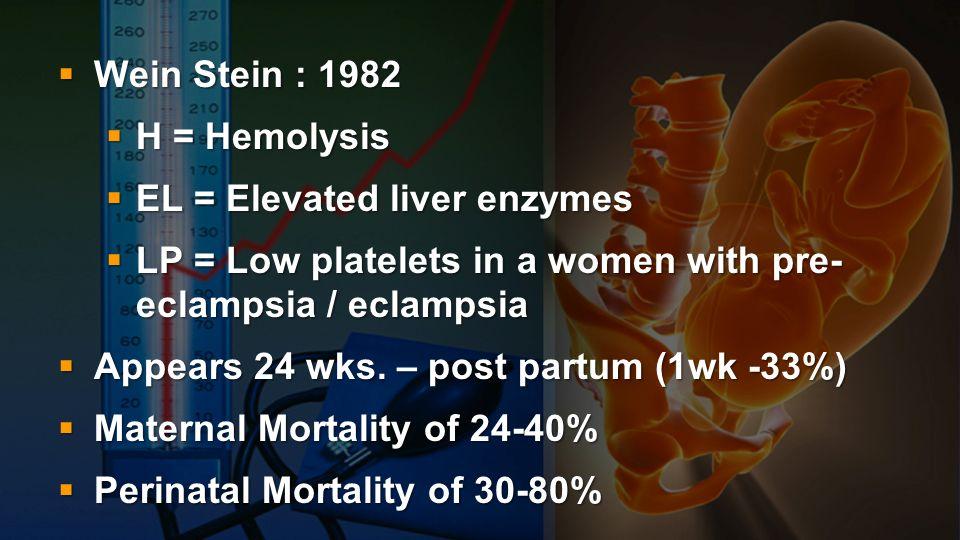 Wein Stein : 1982 Wein Stein : 1982 H = Hemolysis H = Hemolysis EL = Elevated liver enzymes EL = Elevated liver enzymes LP = Low platelets in a women