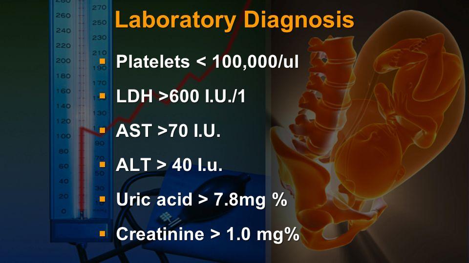 Laboratory Diagnosis Platelets < 100,000/ul Platelets < 100,000/ul LDH >600 I.U./1 LDH >600 I.U./1 AST >70 I.U. AST >70 I.U. ALT > 40 I.u. ALT > 40 I.