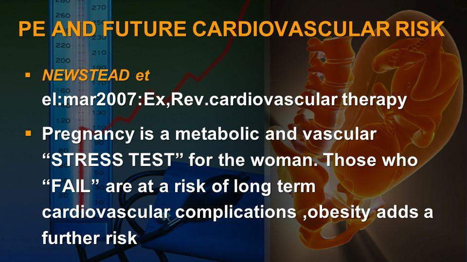 PE AND FUTURE CARDIOVASCULAR RISK NEWSTEAD et el:mar2007:Ex,Rev.cardiovascular therapy NEWSTEAD et el:mar2007:Ex,Rev.cardiovascular therapy Pregnancy