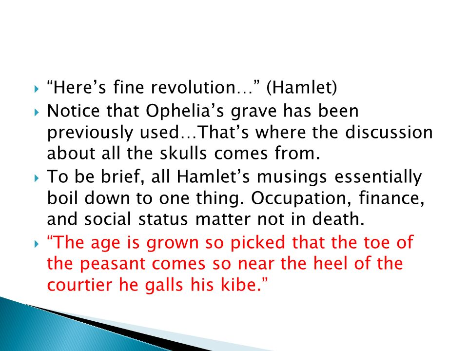 Heres fine revolution… (Hamlet) Notice that Ophelias grave has been previously used…Thats where the discussion about all the skulls comes from. To be