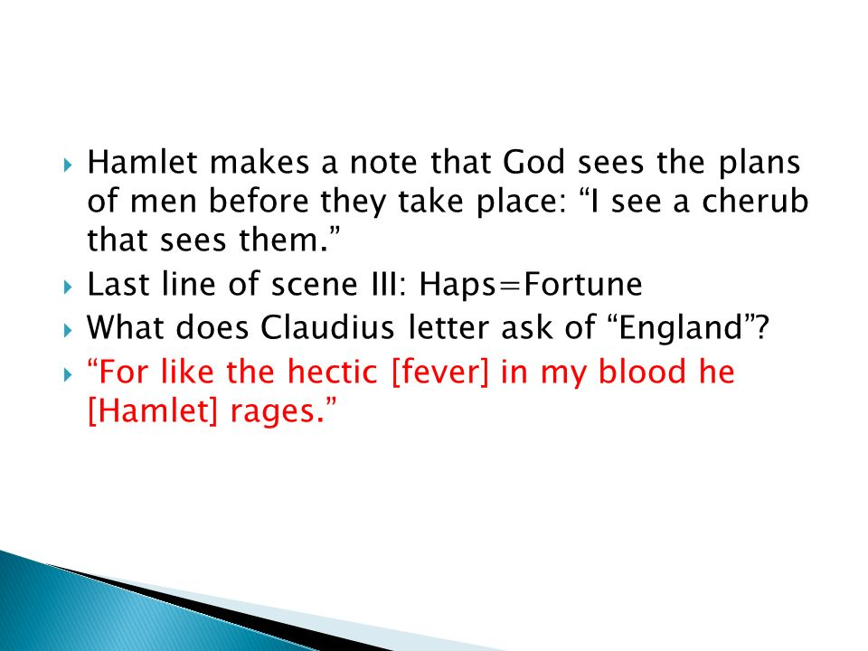 Scene II Hamlet: Theres a divinity that shapes our ends, / Rough-hew (crudely shape) them how we will.